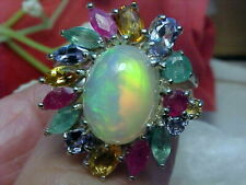 🔥 NATURAL ETHIOPIAN OPAL RING AAA+++ 12.2x9.2mm & RUBY-TANZANITE-EMERALD 925 SS