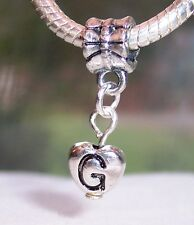 Letter G Heart Alphabet Initial Dangle Charm for Silver European Bead Bracelet