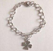 bracelet argenté 20cm trèfle à 4 feuilles porte bonheur