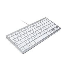 Wired Slim USB Keyboard Silver & White  - By TRIXES