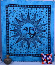 ETHNIC INDIAN SUN MOON PRINT WALL HANGING TAPESTRY TURQUOISE BEDCOVER BEDSPREAD