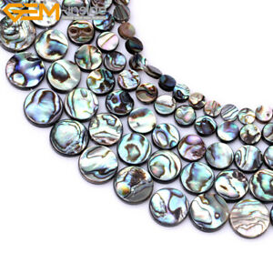 """Natural Genuine Abalone Shell Coin Loose Beads 15"""" Wholesale Jewelry Making"""