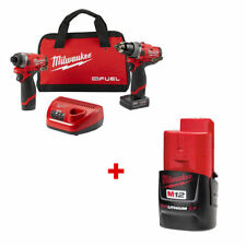 "Milwaukee 2598-22 M12 FUEL 1/2"" Hammer Drill and 1/4"" Hex Impact + 2.0 BATTERY"
