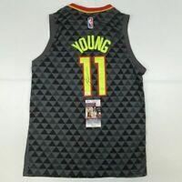 Autographed/Signed TRAE YOUNG Atlanta Black Basketball Jersey JSA COA Auto