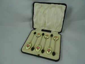 BOXED set x 6 sterling silver ENAMELLED COFFEE BEAN SPOONS, 1930, 48gm