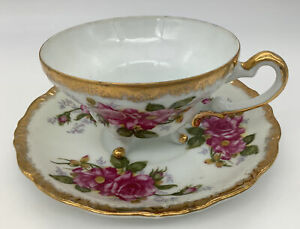 Vintage Three Footed Tea Cup And Saucer With Gold Trim And Pink Roses