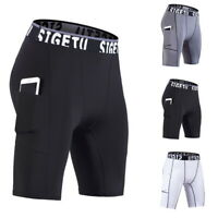Men's Compression Shorts Sports with Pocket Quick Dry Tights Workout Shorts BY