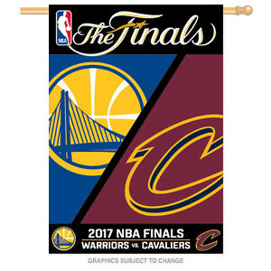 2017 NBA Finals Dueling Golden State Warriors Cleveland Cavaliers 28x40 Banner