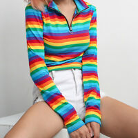 Womens Casual Long Sleeves Turtleneck Rainbow Color Zipper Tops Blouse T-shirt