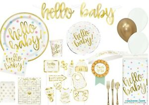 Hello Baby Shower Gold Foil stamped Balloons Tableware Supplies Decorations