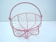 Round Ribbed Chicken Wire Basket With Handle Egg Collecting Farmhouse Pink