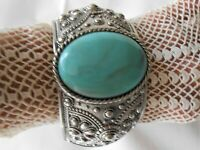 WIDE CHUNKY SILVER TONE FAUX TURQUOISE HINGED BANGLE BRACELET