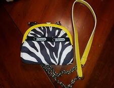 Lesportsac Clutch Wallet Removable Link Chain Leather Strap Zebra Print Yellow