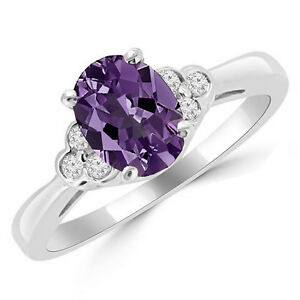 Natural Purple Amethyst & Diamond 14k White Gold Engagement Bridal Cocktail Ring