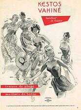 PUBLICITE ADVERTISING 025  1952  KESTOS VAHINE  maillots de bain tenues de plage