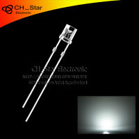 100PCS 5mm Flat Top LED Diodes Water Clear Transparent White Light Wide Angle