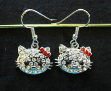 Crystal Cat Earrings-Clear w/ Red Bows-Hypoallergenic French Hook Earrings