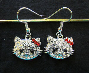 Crystal Cat Earrings-Clear w/ Red Bows-Hypoallergenic