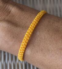 Bracelet brésilien amitié fil de coton cire tresse porte bonheur Jaune  21148
