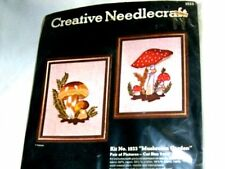"Vintage Crewel Kit New Sultana Pair of Mushrooms  Each is 9""x11"" #1233"