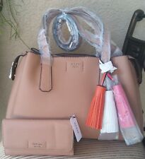 NWT Guess TRUDY Girlfriend Satchel Handbag + Wallet Set Color Brown Authentic