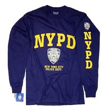 NYPD T-Shirt Long Sleeve Screen Printed Shield Athletic Tee