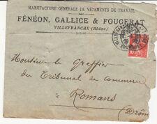 ENVELOPPE VILLEFRANCHE-SUR-SAÔNE vêtements FENEON GALLICE FOUGERAT timbrée 1909