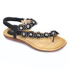 Lunar Charlotte Sandals Black Jlh601 Toe Post Spring Summer UK 6