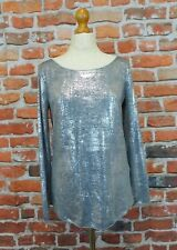 Monari Italia silver fine knit Sargent Pepper L/S top *NWT* UK 12 casual event