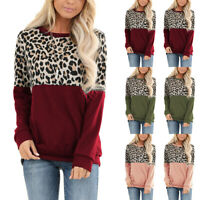 ❤️ Women's Long Sleeve Leopard Sweater Jumper Tops Casual Loose Blouse Pullover