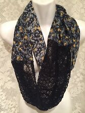 PINS NEEDLES Urban Outfitters Black Gray Yellow Floral Boho Lace Infinity Scarf