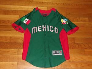 MEXICO WORLD BASEBALL CLASSIC BUTTON-FRONT BASEBALL JERSEY BOYS SMALL 8 EXCELLEN