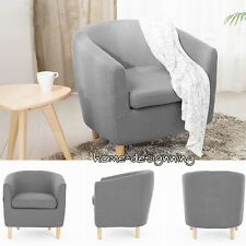 Grey Linen Fabric Single Seater Sofa Tub Arm Chair Dining Room Lounge Furniture
