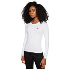 Levi's Women Longsleeve Tee Athletic Casual White Crewneck Clothing 69555-0000