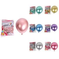 4X(50Pcs 10 Inch Metallic Latex Balloons Thick Chrome Glossy Metal Pearl Bal3Y5)