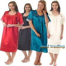 Ladies  Womens Silky Satin Nightdress Nighty Nightshirt Nightie  SHORT SLEEVE