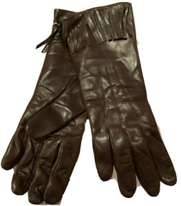PORTOLANO  SOFT LEATHER CASHMERE LINED GLOVES IN Brown SZ 7.5 Nwt