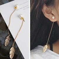Korean Style Simulated Pearls Long Tassel Leaf Feather Dangle Earrings Jewelry