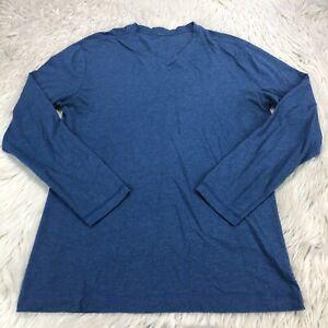 Lululemon Men's M L Blue V-Neck Long Sleeve Athletic T-Shirt Top