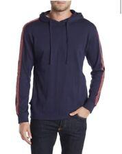 Burnside Men's Navy Stripe Sleeve Pullover Hoodie Size XL