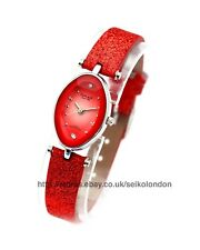 Omax Ladies Sunburst Coral Cut Glass Watch, Seiko (Japan) Movt. RRP £49.99