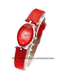 Omax Ladies Sunburst Coral Cut Glass Watch, Seiko (Japan) Movt. RRP £49.99