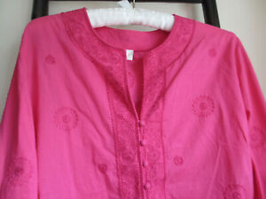 EAST EMBROIDERED INDIAN PINK COTTON TUNIC TOP - 16