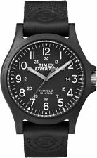 Mens Timex Indiglo Expedition Black Leather Band Black Dial Date Watch TW4B08100