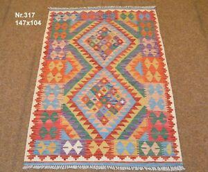 Handgewebter Orient Kelim Afghan Nr.317 - 147x104cm aus 100% Wolle