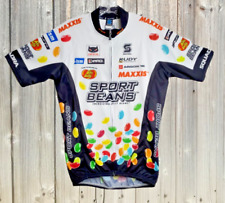 Squadra Cycling Jersey Men Large Sport Beans Club Cut Short Sleeve White Black