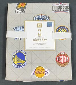 Pottery Barn PB Teen Gray NBA Western Conference Queen Sheet Set