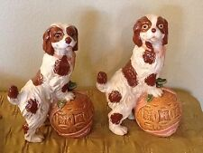 """Pair of 12"""" Chinese Foo Dog With Ball Statue Springer Spaniel Dog Bookends Decor"""