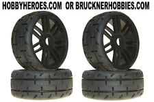 1:8 GRP GT Rubber GTX01-S7 Med/Hard Tread Tires (4) Black Spoke Rims FREE SHIP