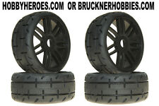 1:8 GRP GT Rubber GTX01-S2 XSoft Tread Tires (4) Black Spoke Rims Free Ship